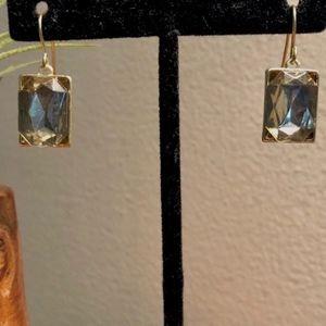 *ALENA* - Square Bronze Gem Dangle Earrings